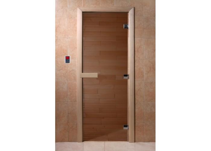 Дверь банная стекло DoorWood Бронза 190х70 (Теплый день)
