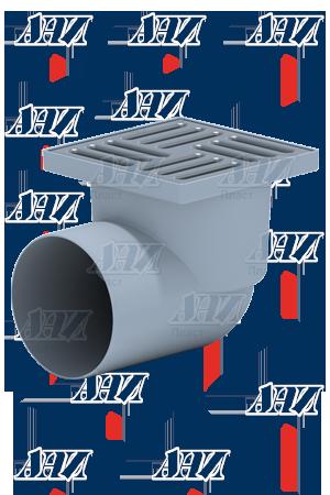 'Трап ТА1112 горизонтальный,110 мм, с нержавеющей решеткой 15*15см