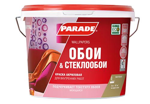 Краска акриловая PARADE W110 белая матовая 9л для обоев база А