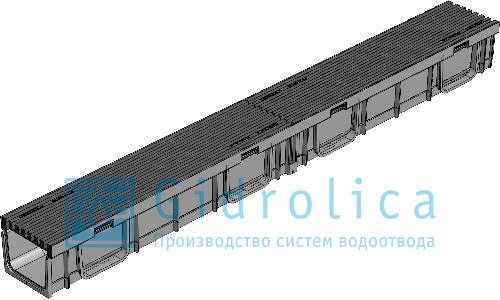 Лоток водоотводный Gidrolica®Light ЛВ-10.11,5.9.5 пластиковый c решеткой
