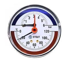 'Термоманометр аксиальный ф80 мм, 0-6 бар, 0-120