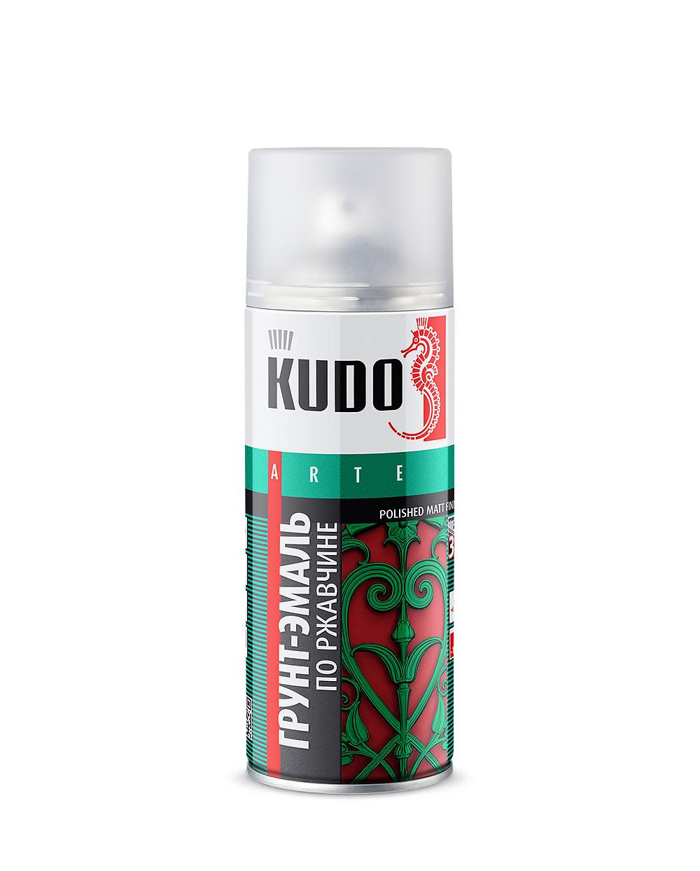 'Грунт-эмаль по ржавчине KUDO аэрозол. зеленая 520мл RAL6002