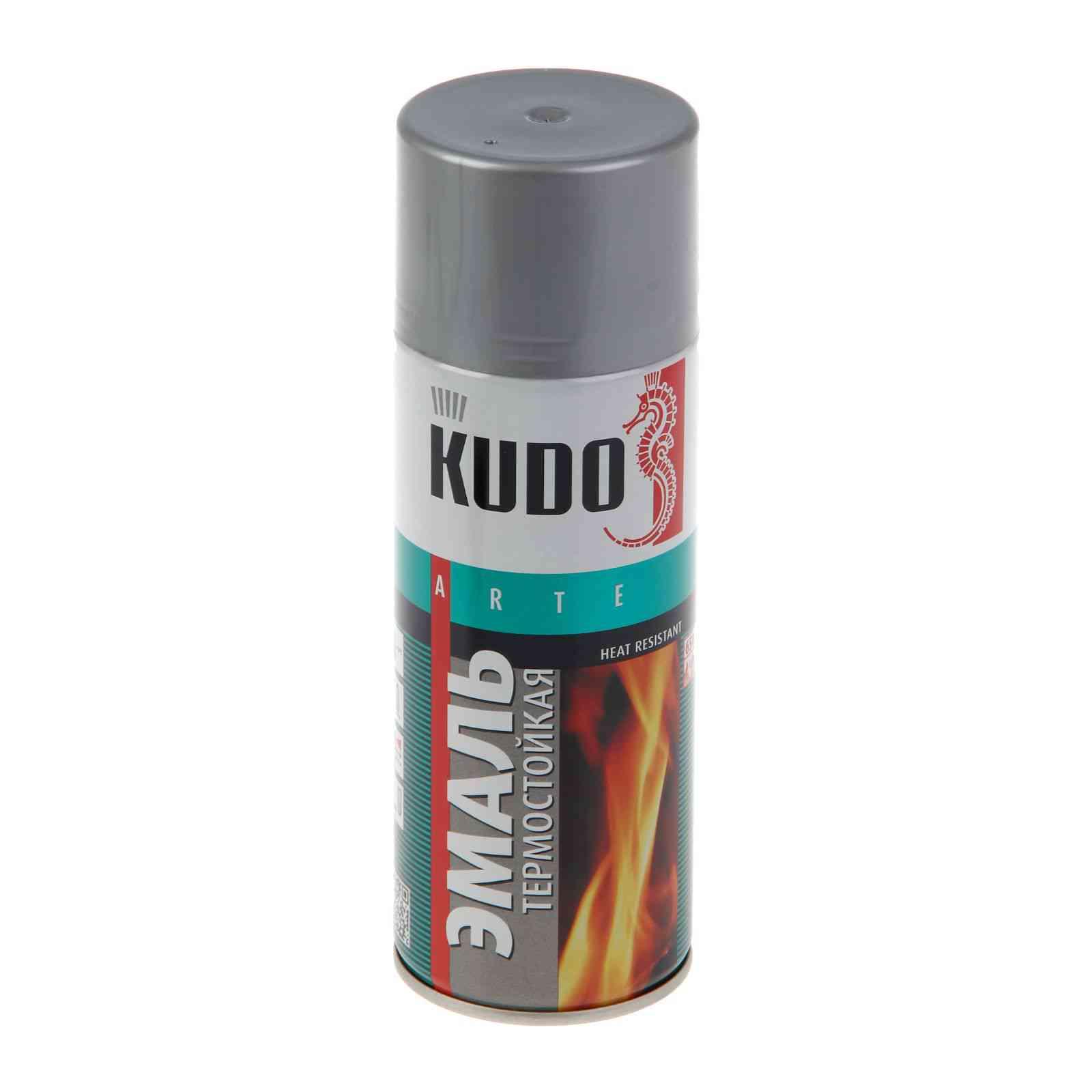 'Краска аэрозоль KUDO 520мл термостойкая серебристая