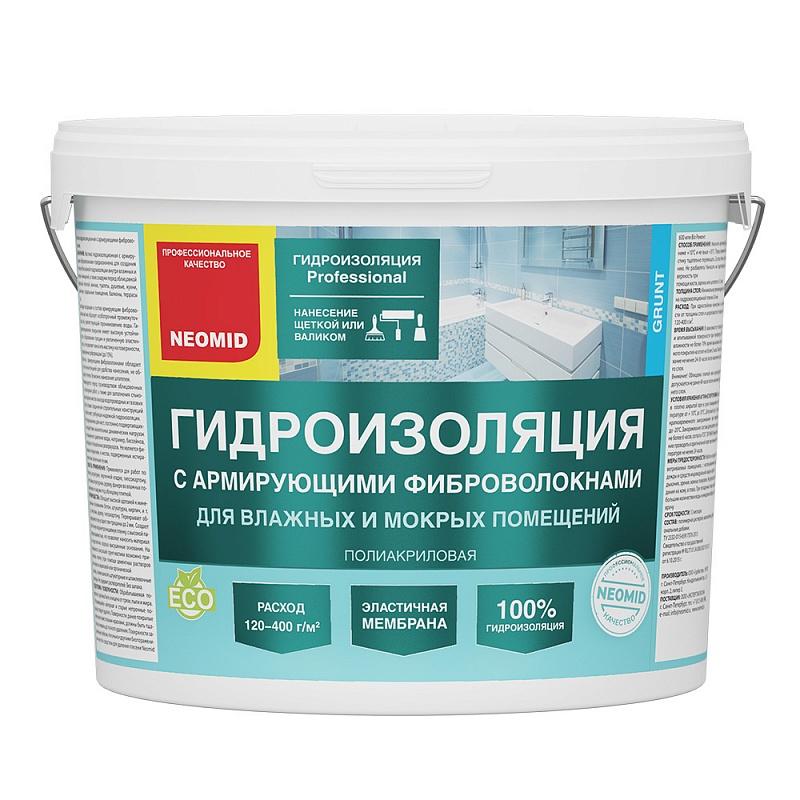 Гидроизоляция Неомид с фиброволокном 12кг д/влажных,мокрых помещени