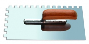 'Кельма нержавеющая сталь 130х270 м зуб 6х6 деревянная ручка