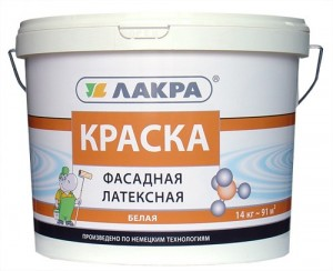 Краска фасадная латексная белая 14 кг (Лакра)
