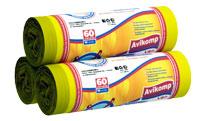 Мешки для мусора 60л желтые  АВИКОМП (упаковка-10шт.)