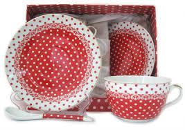 Чайная пара Горох на красно-белом кружево 470978