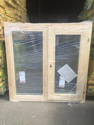 Оконный блок ОДОСП 1000х1000 деревянный со стеклопакетом