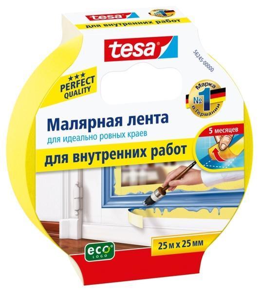Лента малярная Tesa 25х25мм жёлтая
