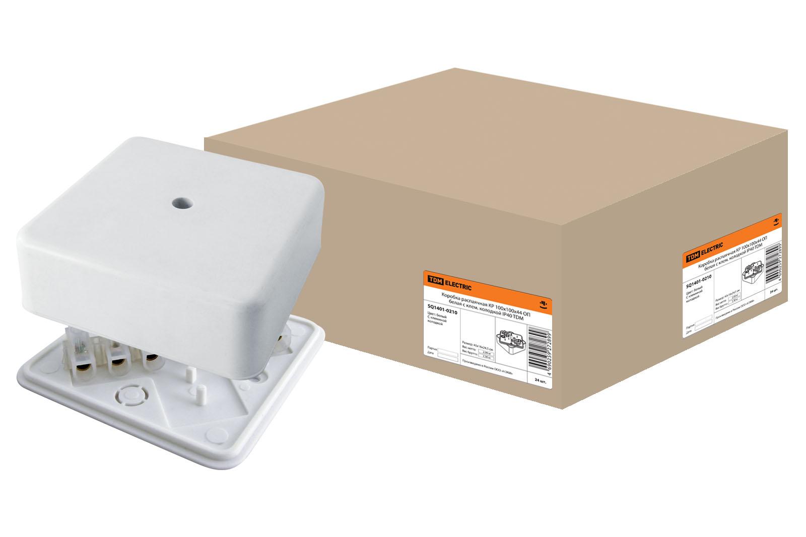 Коробка расп.TDM КР 100х100х44 ОП с клем. колодкой белая IP40 SQ1401-0210