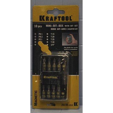 'Набор биты KRAFTOOL с магнитным адаптером 10 предметов 26130-Н10 (Германия)