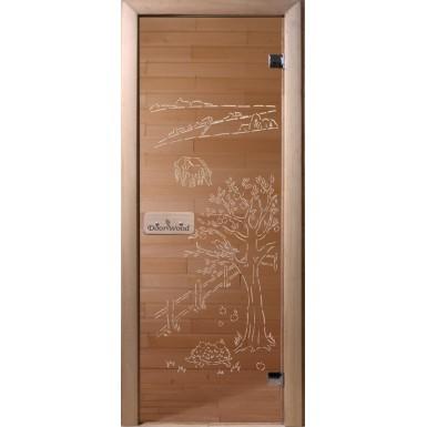 Дверь банная стекло DoorWood сатин 200х80