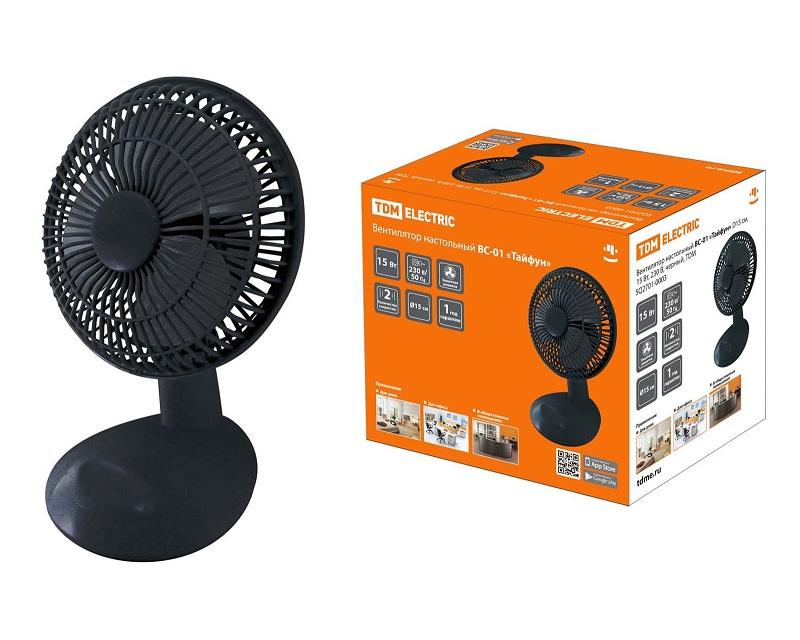 Вентилятор настольный Тайфун ВС-01,2701-0003 черный