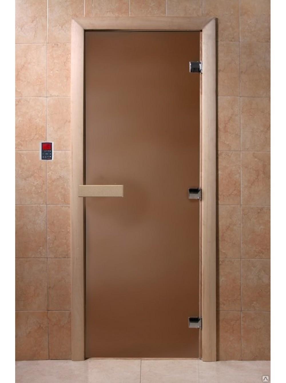 Дверь банная стекло DoorWood Бронза матовая 200х80см