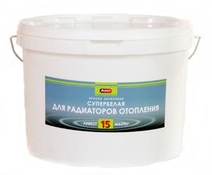 'Краска для радиаторов по металлу Аквест-15 1,2кг белая