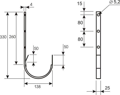 Держатель желоба оцинк., толщ. 0,5 мм (Липецк)