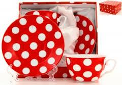 Чайная пара Горох на красном кружево 350мл 470758