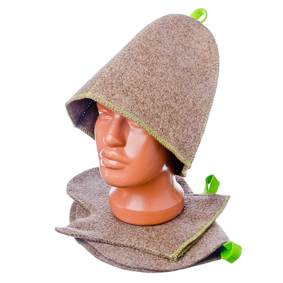 Шляпа д/сауны Войлок 100% тонкий серо/белый в ассортименте